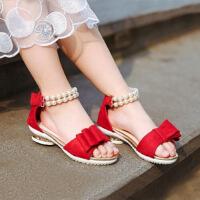 夏季女童凉鞋中大童儿童鞋女小女孩鞋学生珍珠公主鞋