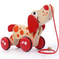 婴幼儿童宝宝木制质动物拖拉玩具小狗鳄鱼手拉线绳学步车1-3岁