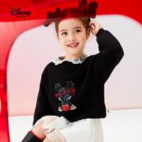 【3折�A估�r:73.5元】迪士尼女童加厚�A�I毛衫秋冬新款童�b�和�����洋�饪ㄍ�毛衣上衣潮