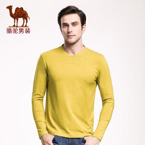 骆驼男装 新品冬款青年V领纯色打底衫 青春活力休闲长袖T恤男