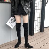 过膝长靴女平底2018秋冬季新款弹力高筒网红马靴瘦瘦棉靴长筒靴子 黑色