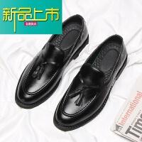新品上市英伦小皮鞋男韩版潮青年休闲鞋春季新款豆豆鞋男士一脚蹬懒人鞋子