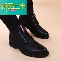 新品上市男士尖头马丁靴韩版英伦风时尚内增高短靴型师潮男皮靴子高帮鞋