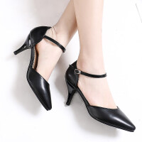 凉鞋女细跟低跟中空尖头浅口中粗跟单鞋包头方跟女高跟鞋