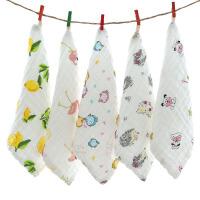 方巾 儿童卡通印花挂钩六层纱布口水巾新生婴儿宝宝洗脸双层包边擦手毛巾