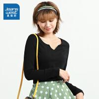 [到手价:39.9元]真维斯女装 2021春季新品 时尚简约小V领修身型长袖T恤
