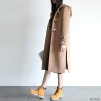 2018秋冬新款韩版毛呢外套女中长款学生呢子牛角扣大衣女