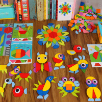 拼图玩具 七巧板智力拼图儿童玩具4-6岁女创意女孩3岁小学生木质磁力幼
