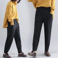 胖女人冬装洋气大码女裤宽松减龄加绒加厚时髦休闲裤秋冬新款