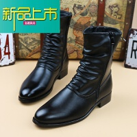 新品上市冬季男士靴子韩版马丁靴男英伦高帮鞋潮流加绒保暖皮靴高筒长筒靴
