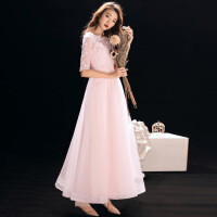2019新款伴娘服新款夏长款主持人粉色宴会晚礼服连衣裙生日派对仙气质