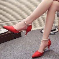 一字扣高跟鞋女细跟5cm性感单鞋红色婚鞋礼服尖头礼串珠工作