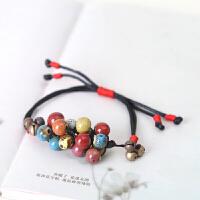 原创编织陶瓷首饰饰品铃铛手链 包包链 一饰两用