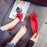 红色鞋子女2018新款百搭韩版新娘鞋平底尖头大码女鞋40-43结婚鞋