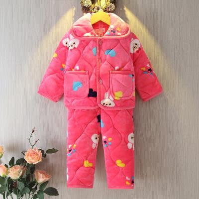 女宝宝睡衣加厚小童1-3岁儿童珊瑚绒家居服加绒套装女秋冬法兰绒