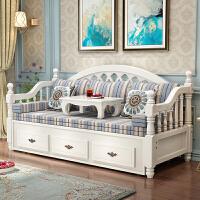 欧式客厅小户型多功能实木沙发床 多功能储物推拉两用床小户型客厅双人沙发床 1.8米-2米