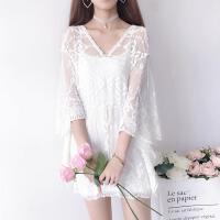 新款夏季女装韩版镂空蕾丝雪纺衫蝙蝠袖罩衫吊带上衣打底衫萌 均码