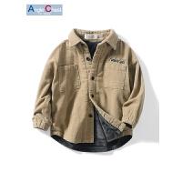 男童衬衫秋冬季童装宝宝上衣儿童灯芯绒衬衣外套