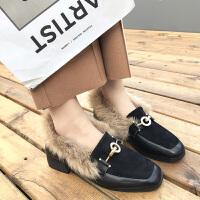 毛毛鞋女2018新款方头小皮鞋潮加绒复古英伦风中跟粗跟豆豆鞋女冬