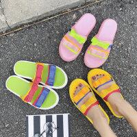 时尚外穿松糕跟女士拖鞋 新款蝴蝶结厚底拖鞋女 韩版女鞋糖果色一字凉拖鞋