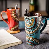 杯子陶瓷马克杯复古大容量办公室情侣水杯茶杯家用简约杯子带盖勺