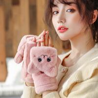 手套女冬天加厚保暖日系可爱少女韩版潮网红加绒翻盖学生写字手套