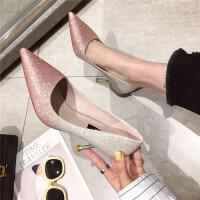 高跟鞋女细跟尖头浅口工作鞋子2019春季新款时尚高跟鞋单鞋女鞋