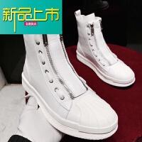 新品上市专柜网红马丁靴街拍高帮鞋潮牌贝壳鞋双拉链设计高筒靴男士