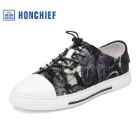 红蜻蜓旗下品牌HONCHIEF 春秋新款真皮潮流印花男单鞋休闲舒适男鞋1