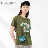 短袖T恤女2019夏季新款时尚印花圆领宽松套头针织上衣太平鸟女装