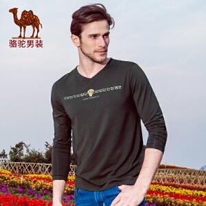 春季新款长袖V领针织布字母青年休闲时尚T恤打底衫男