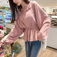 卡贝琳女2019新款很仙的粉色雪纺衬衫女V领心机上衣设计感洋气女式小衫秋