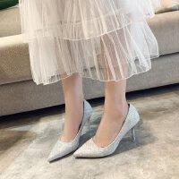 浅色高跟鞋女婚鞋银色细跟性感伴娘鞋年会单鞋7cm亮片尖头中跟ol