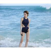 高腰显瘦性感个性黑色mini连体游泳衣女士泳装泡温泉