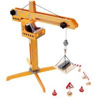 Hape工程塔吊益智玩具男孩玩具婴幼玩具过家家玩具E3011