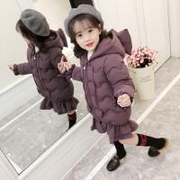 儿童冬装女童中长款羽绒棉衣女宝棉袄小童荷叶边公主