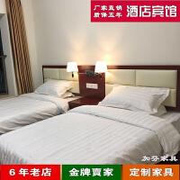 定制新中式酒店家具标间床头板软包租房用床简约宾馆家具