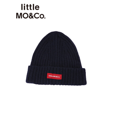 littlemoco秋冬新款儿童帽子贴布绣保暖针织毛线帽男女童冷帽帽子 保暖毛线帽 品牌感贴布绣