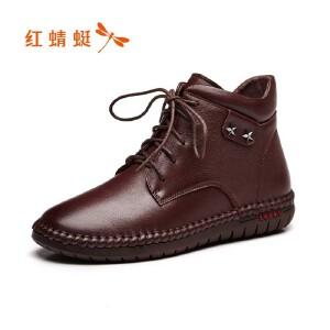 红蜻蜓女鞋秋冬皮鞋鞋子女女靴子加绒短靴WTC7596