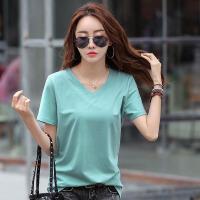 夏季新品时尚纯色棉吸汗修身韩版V领大码女士印花t恤上衣