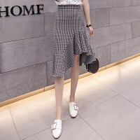 格子半身裙2019春夏季新款韩版高腰中长款不规则包臀荷叶边鱼尾裙