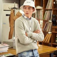 【2件2.5折价169元】唐狮冬装新款毛衣男韩版针织衫休闲圆领套头学生个性帅气