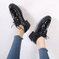 布洛克鞋女英伦秋季小皮鞋圆头雕花学院粗跟低跟百搭复古单牛津鞋