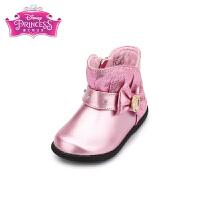 【99元任选2双】迪士尼Disney童鞋18新款女童宝宝鞋蝴蝶结亮面皮靴幼童休闲靴子 (0-4岁可选) K00011