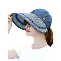 遮阳帽女夏天防晒可折叠户外沙滩帽子防紫外线草帽太阳帽