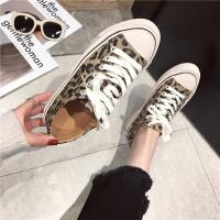 豹纹帆布鞋女2019春款新款时尚英伦复古休闲低帮潮鞋子港风板鞋