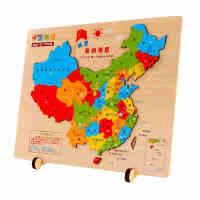 激光雕刻木质中国地图拼图立体拼版积木早教益智世界名画儿童玩具
