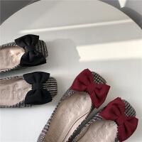 2019春秋季新款方头单鞋低跟平底蝴蝶结鞋女复古千鸟格平底鞋