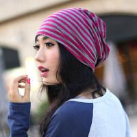 新品韩版潮女帽子 时尚纯棉条纹帽 套头巾帽子