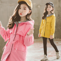 儿童外套2019秋季新款童装3-12岁韩版女童风衣中长款休闲连帽上衣